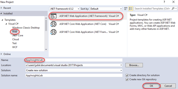 Instrumenting ASP NET with Application Insights in Visual