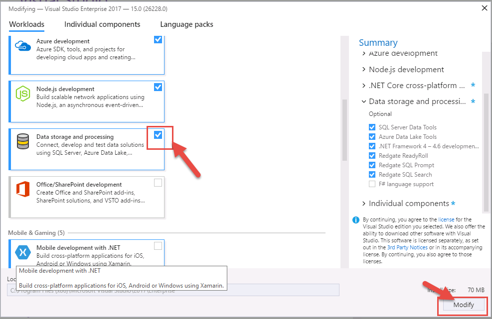 Installing Redgate Data Tools in VS 2017 and ReadyRoll Extension for