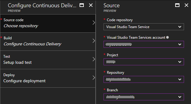 Setting up Continuous Delivery workflow from the Azure