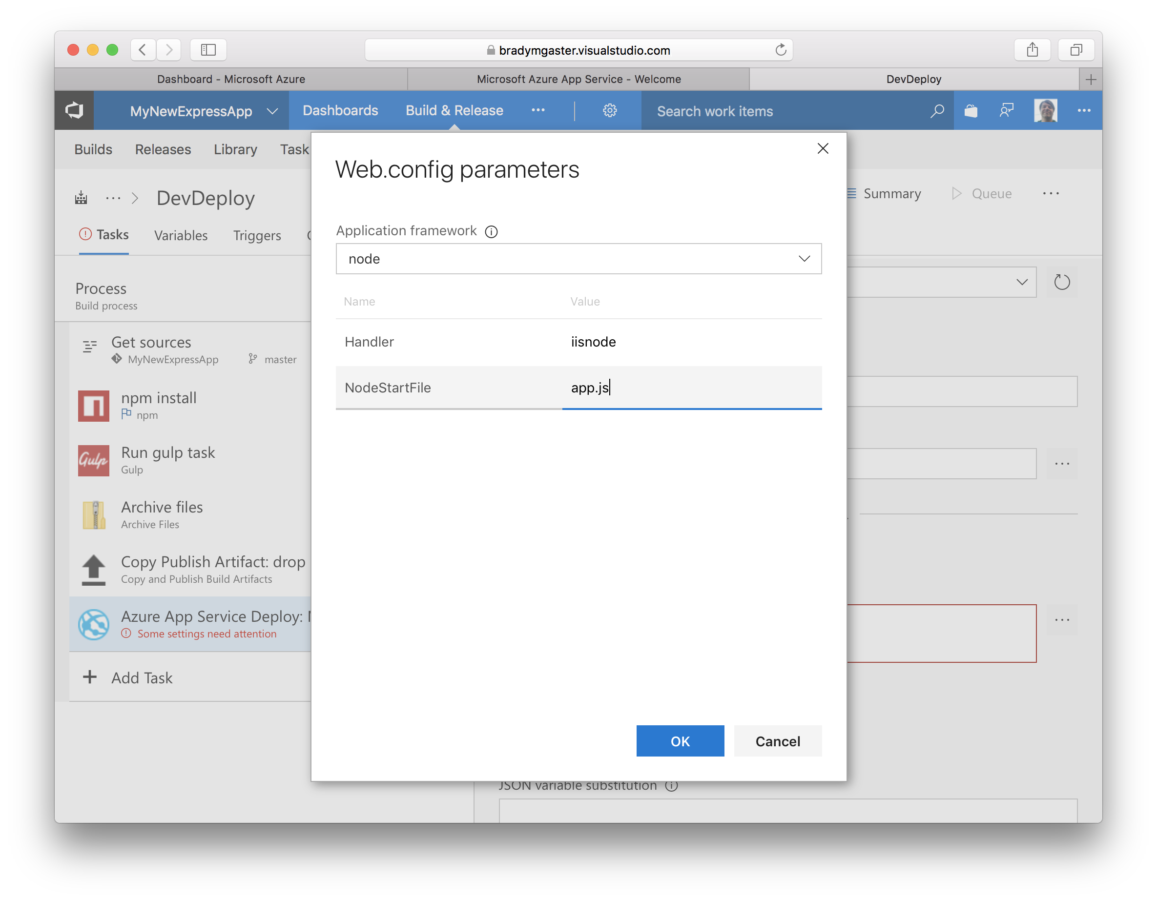 Configure CI/CD for Node application with Azure Pipelines