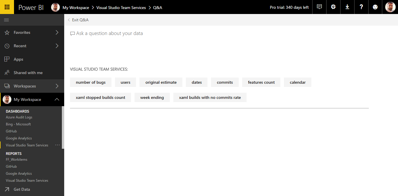 Connect to Visual Studio Team Services with Power BI   Azure