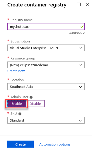 Create Azure Container Registry
