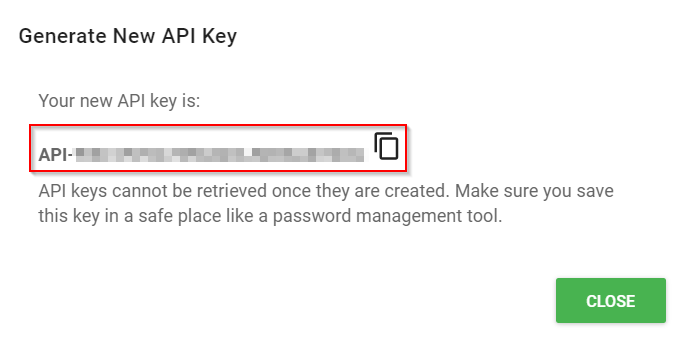 Generated API Key