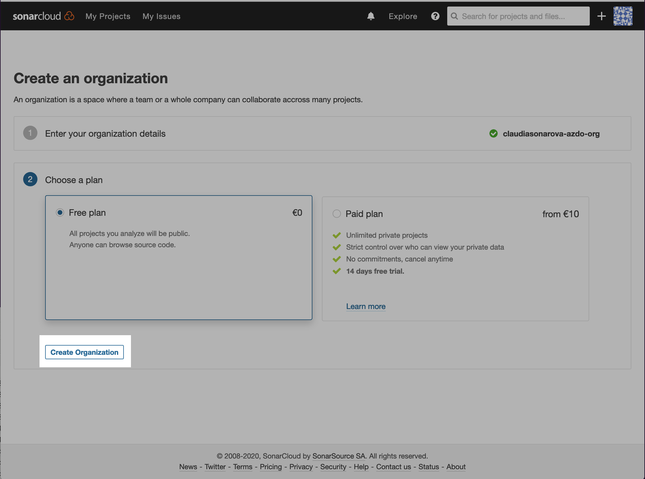 Create SonarCloud organization