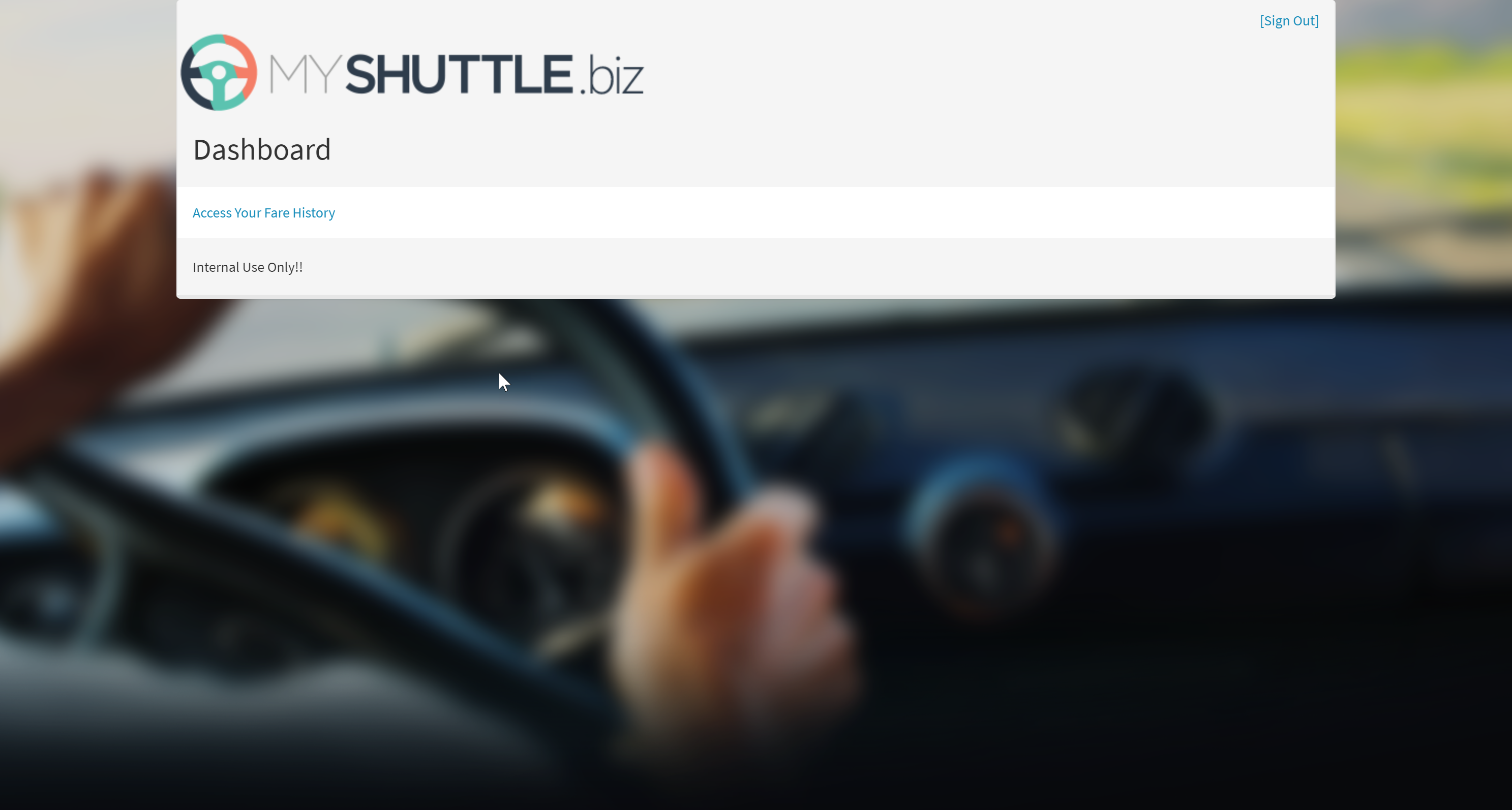 MyShuttle page after login